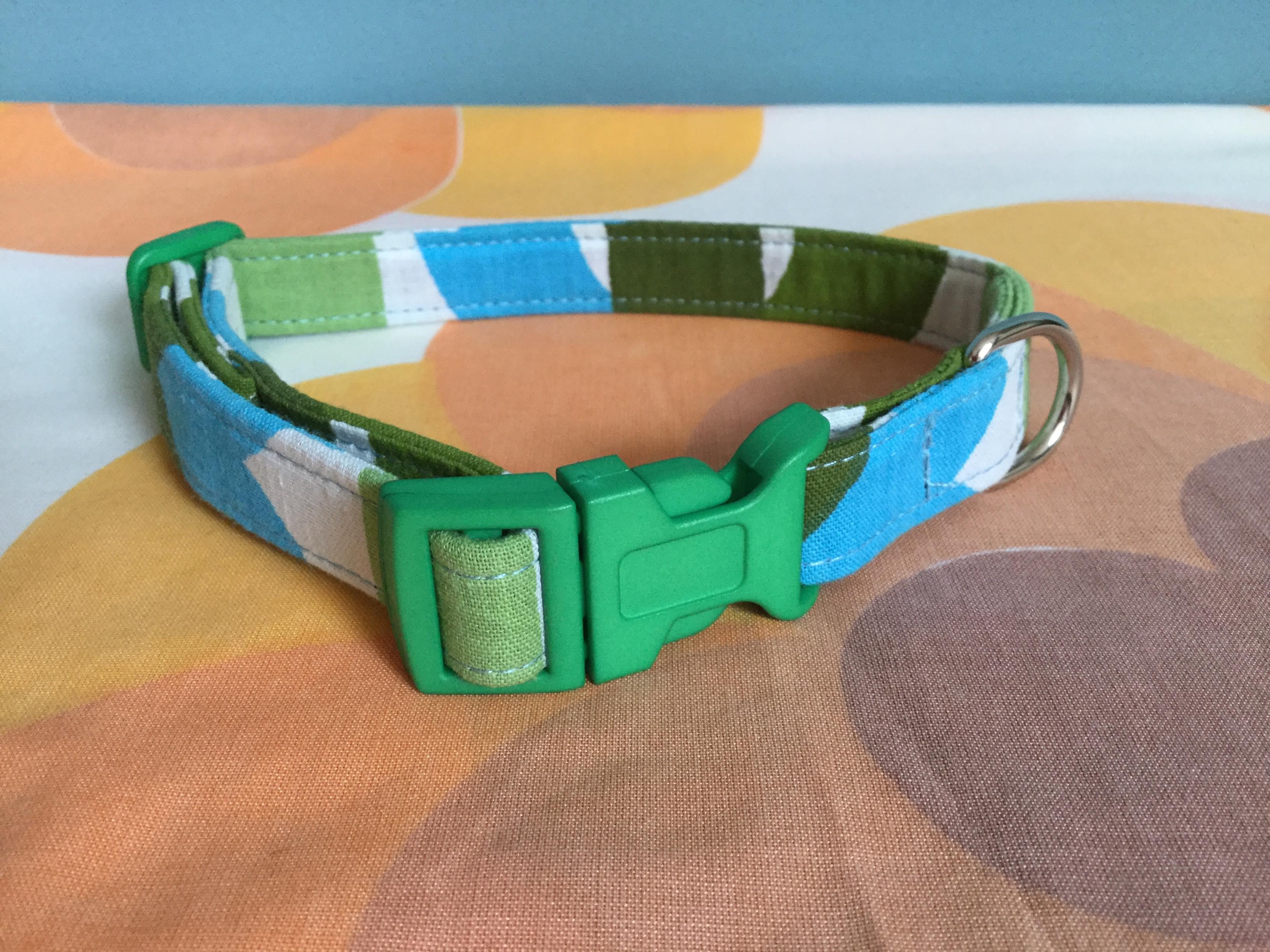 Basil fabric dog collar