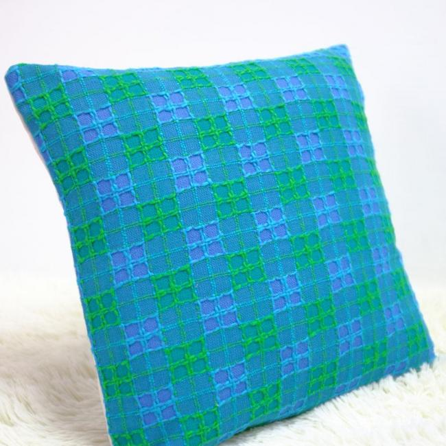 Blue retro cushion cover