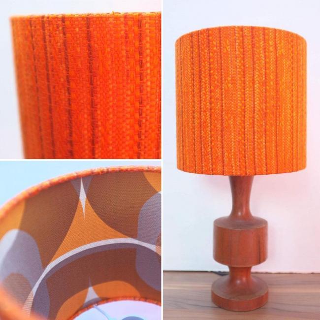 Small Lined Retro Lampshade Original 60s//70s Fabric 20cm Drum Table Lamp